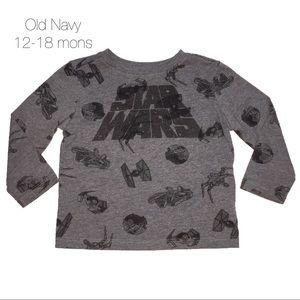 Old Navy Star Wars Gray Long Sleeve 12-18 mons